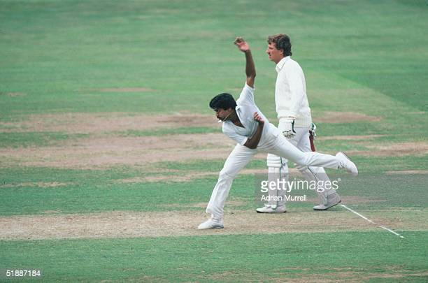 Kapil Dev bowls for India during the First Test Match against England at Lords, June 1982.
