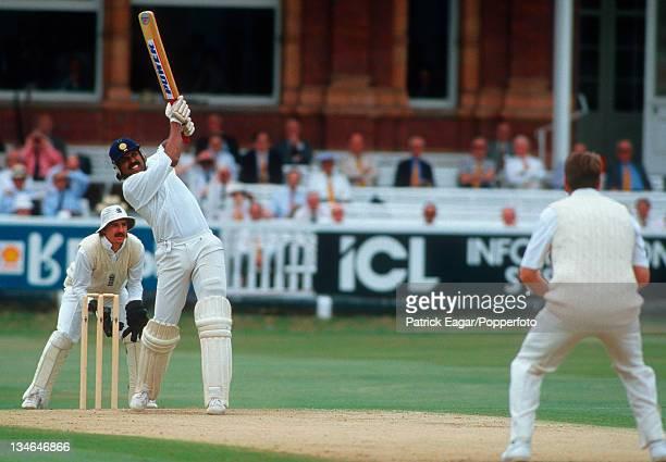 Kapil Dev hits second 6 off Hemmings, England v India, 1st Test, Lord's, Jul 90.