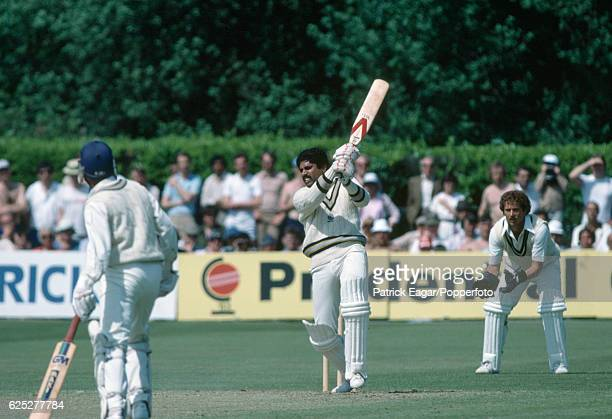 Kapil Dev of India batting during his innings of 175 not out in the Prudential World Cup group match between India and Zimbabwe at the Nevill Ground...
