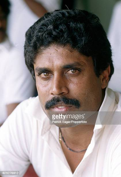 Kapil Dev of India during the Prudential World Cup Semi Final between India and England at Old Trafford Manchester 22nd June 1983