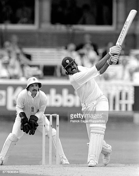 Kapil Dev of India hits the fourth of four consecutive sixes in one over during the 1st Test match between England and India at Lord's Cricket Ground...