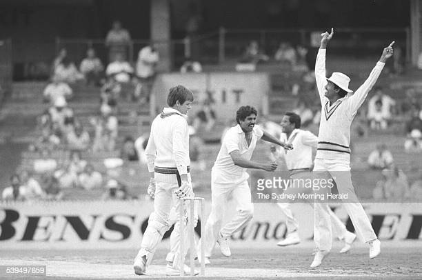 Kapil goes high into the air for appeal of LBW against Border off the first ball that he faced not out Australia vs India 3rd Test Melbourne 11...
