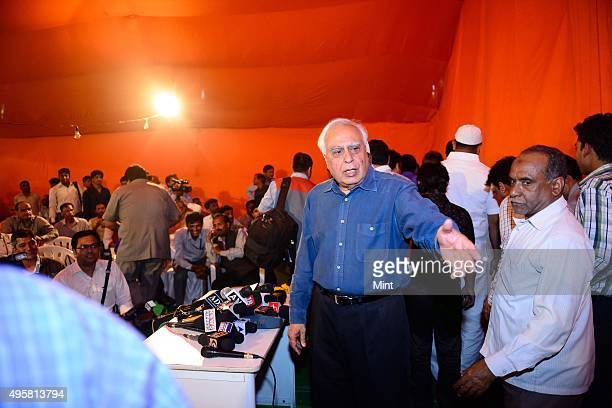 Kapil Sibal Congress candidate from Chandni Chowk during a press conference at his residence on March 24 2014 in New Delhi India