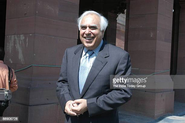Kapil Sibal Union Cabinet Minister of Science and Technology and Ocean Development at Parliament House in New Delhi India