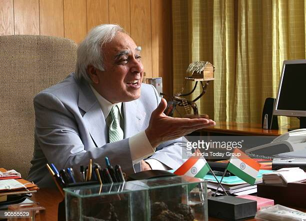 Kapil Sibal Union Cabinet Minister of Science and Technology and Ocean Development at his office in New Delhi India