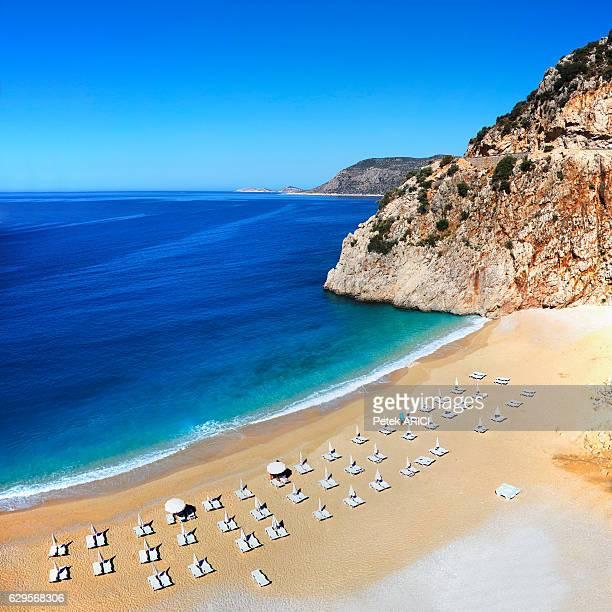 kaputas beach near kalkan, turkey - アンタルヤ県 ストックフォトと画像