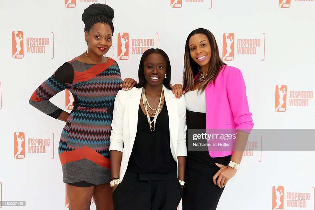 Kara Braxton #45, Essence Carson #17 and Plenette Pierson #33 of the New York Liberty pose for a picture at the 2013 WNBA Inspiring Women's Luncheon in New York City.
