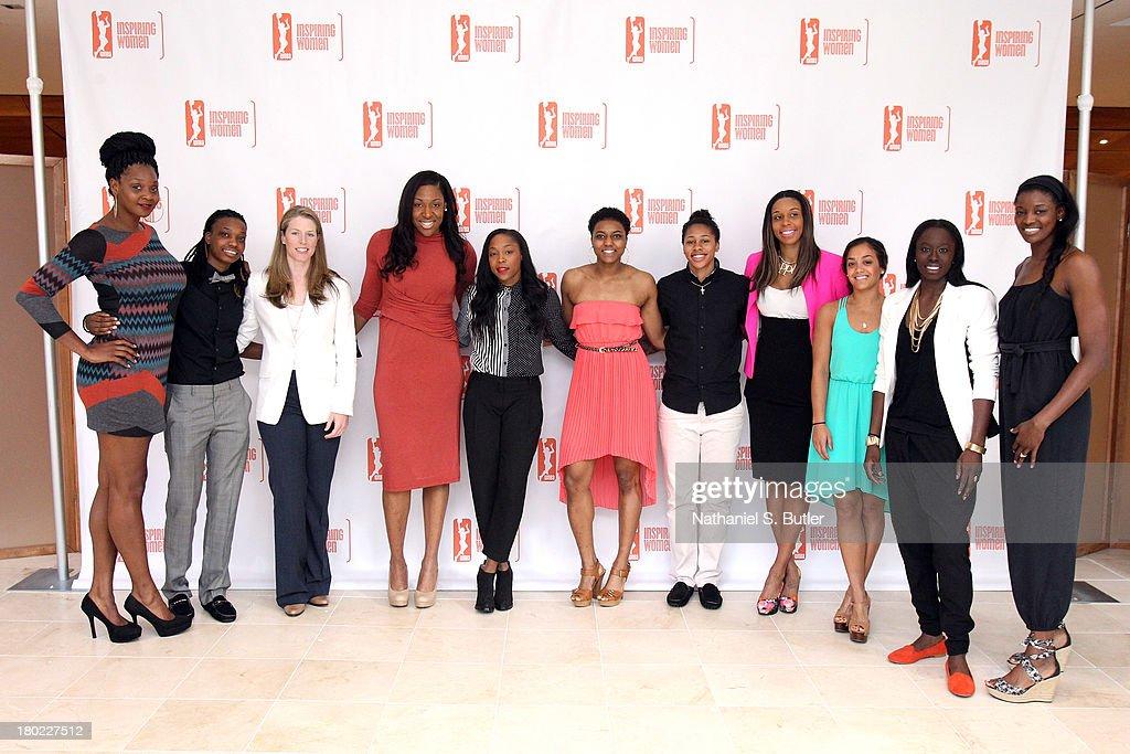 Kara Braxton #45, Toni Young #15, Katie Smith #30, Kelsey Bone #3, Alex Montgomery #21 Kamiko Williams #4, Cappie Pondexter #23, Plenette Pierson #33, Leilani Mitchell #5, Essence Carson #17 and DeLisha Milton-Jones #1 of the New York Liberty pose for a picture at the 2013 WNBA Inspiring Women's Luncheon in New York City.