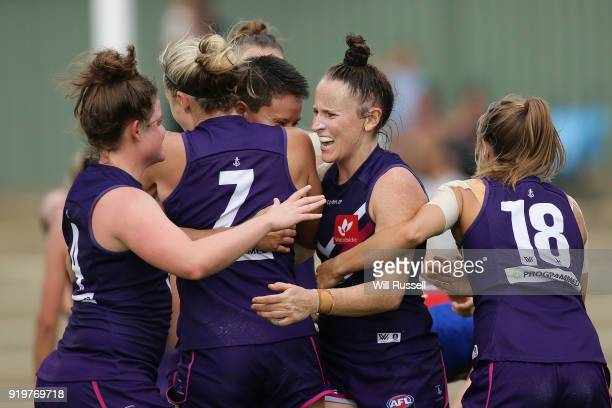Kara Donnellan of the Dockers celebrates after the teams win during the round three AFLW match between the Fremantle Dockers and the Melbourne Demons...