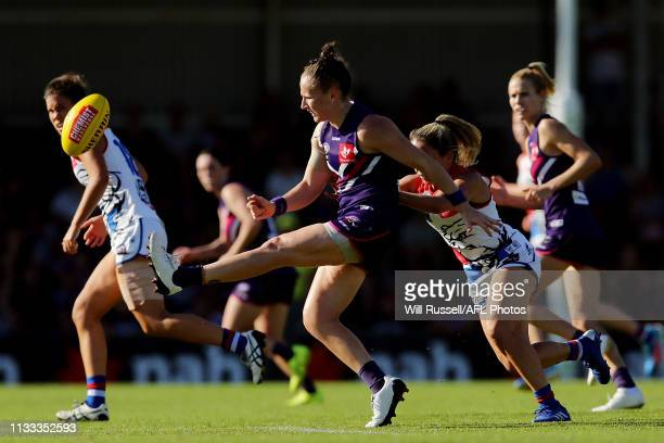 Kara Donnellan of the Dockers kicks the ball during the round five AFLW match between the Fremantle Dockers and the Western Bulldogs at Fremantle...