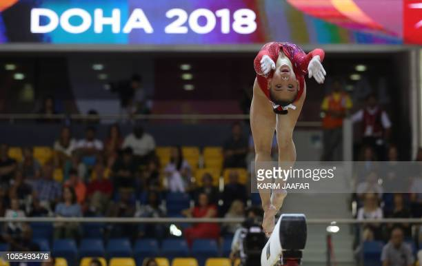 Kara Eaker competes in the balance beam during women's team final of the 2018 FIG Artistic Gymnastics Championships at Aspire Dome on October 30 2018...