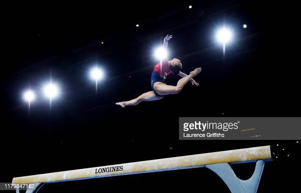 Kara Eaker of USA performs on Balance Beam during the Women's Team Finals on Day 5 of FIG Artistic Gymnastics World Championships on October 08 2019...
