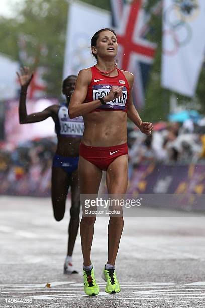 Kara Goucher a of the United States competes during the Women's Marathon on Day 9 of the London 2012 Olympic Games at The Mall on August 5 2012 in...