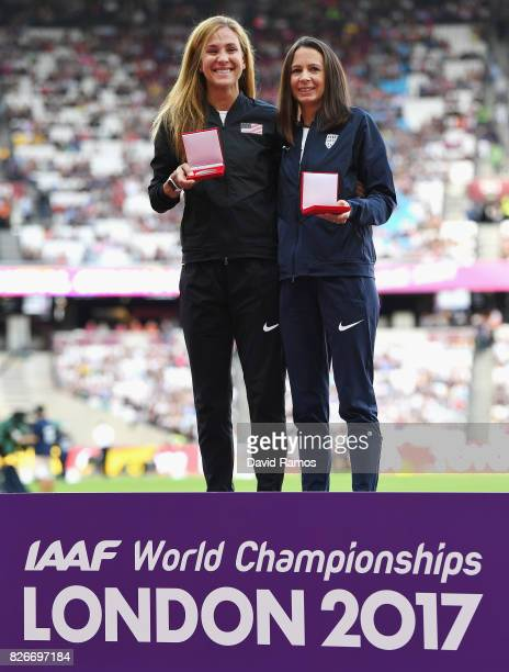 Kara Goucher of The United States and Jo Pavey of Great Britain recieve their reallocated medals from the 10000m Women race at the Osaka 2007...