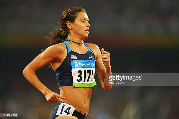 Kara Goucher of the United States competes in the Women's 5000m Heats held at the National Stadium on Day 11 of the Beijing 2008 Olympic Games on...