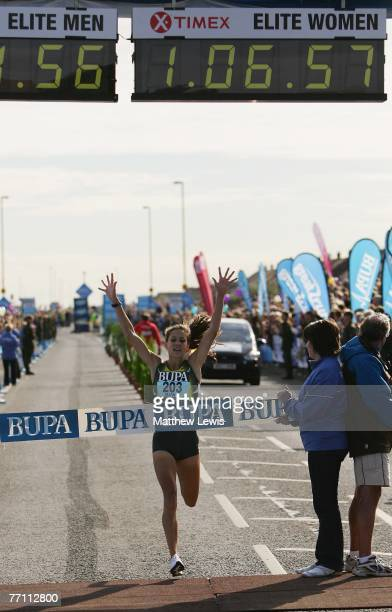 Kara Goucher of the United States wins the Great North Run on September 30 2007 in NewcastleUponTyne England