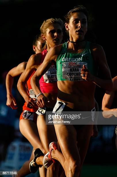 Kara Goucher runs during the the 5000m race during day 2 of the USA Track and Field National Championships on June 26 2009 at Hayward Field in Eugene...