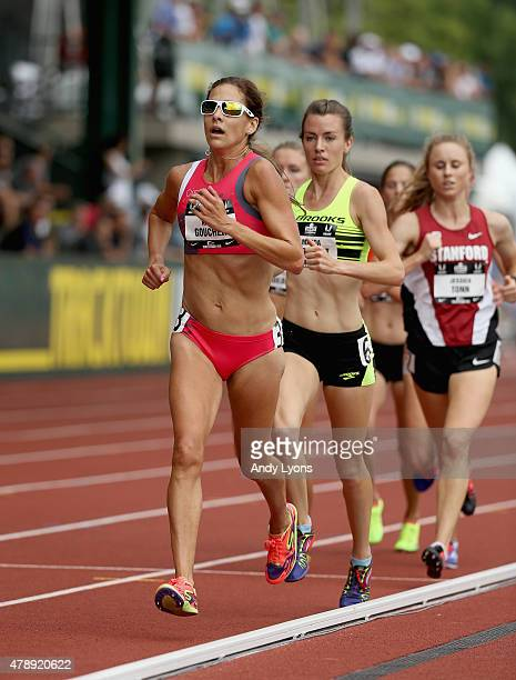 Kara Goucher runs in the Womens 5000 Meter during day four of the 2015 USA Outdoor Track Field Championships at Hayward Field on June 28 2015 in...