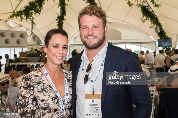 Kara Griggs and Wallaby James Slipper attend Magic Millions Raceday on January 13 2018 in Gold Coast Australia