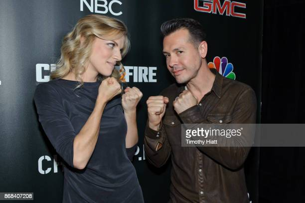 Kara Killmer and Jon Seda attend the One Chicago party during NBC's 'One Chicago' press day on October 30 2017 in Chicago Illinois