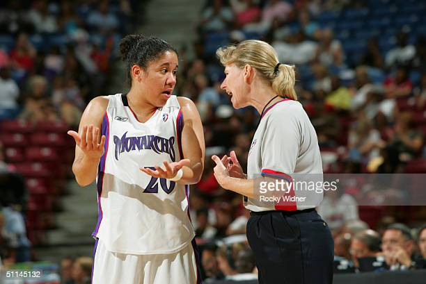 Kara Lawson of the Sacramento Monarchs argues with a referee during the game against the Indiana Fever at Arco Arena on July 25, 2004 in Sacramento,...