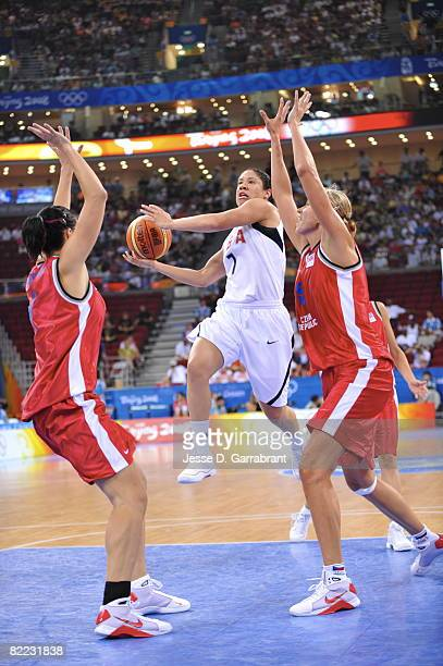 Kara Lawson of the U.S. Women's Senior National Team shoots against Ivana Vecerova of the Czech Republic during day one of basketball at the 2008...