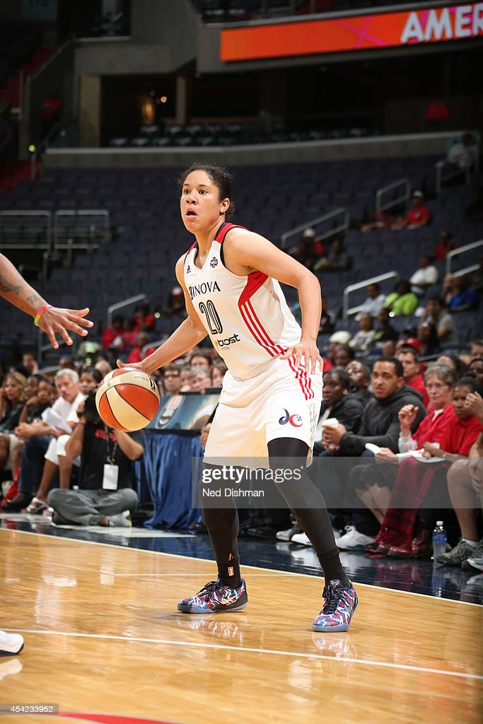 Kara Lawson #20 of the Washington Mystics handles the ball against the Indiana Fever in Game Two of the Eastern Conference Semifinals during the 2014 WNBA Playoffs on August 23, 2014 at the Verizon Center in Washington, DC.