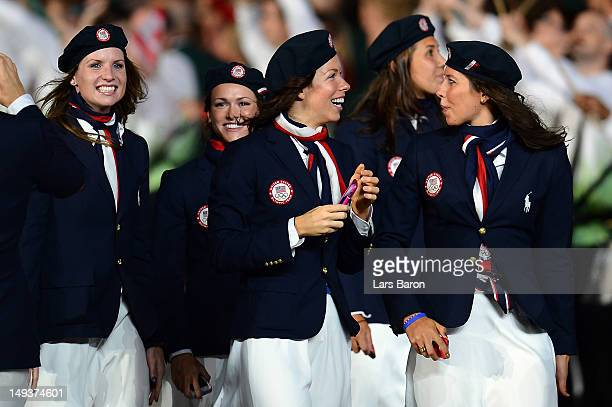 Kara Lyn Joyce and Katie Ziegler of the Unites States enter the stadium during the Opening Ceremony of the London 2012 Olympic Games at the Olympic...