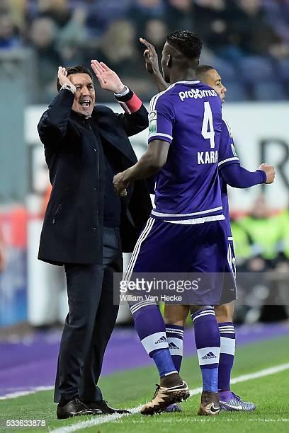 Kara Mbodji Serigne Modou defender of RSc Anderlecht celebrates scoring a goal with Hasi Besnik head coach of Rsc Anderlecht during the Jupiler Pro...