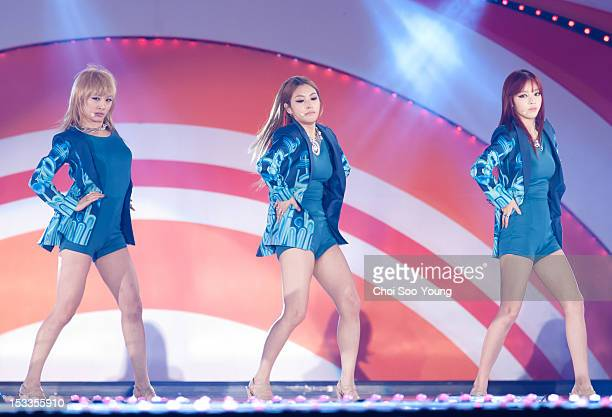 Kara perform onstage during Incheon K-POP Concert 2012 at Munhak Sports Complex on September 9, 2012 in Incheon, South Korea.