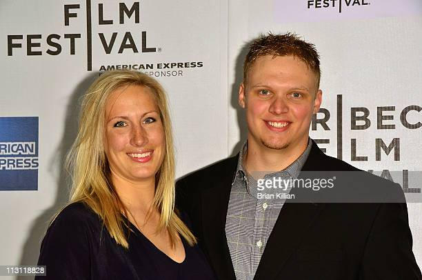 Kara Purdum and New York Jets long snapper Tanner Purdum attend the Tribeca/ESPN Sports Film Festival Gala 'Catching Hell' during the 10th annual...