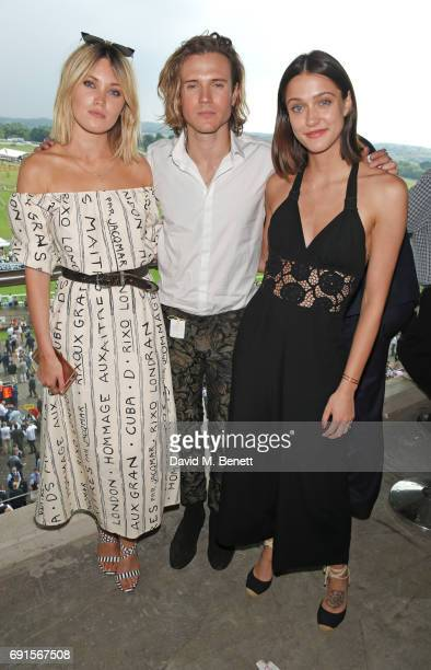 Kara Rose Marshall Dougie Poynter and Sophie Hopkins attend Ladies Day of the 2017 Investec Derby Festival at The Jockey Club's Epsom Downs...