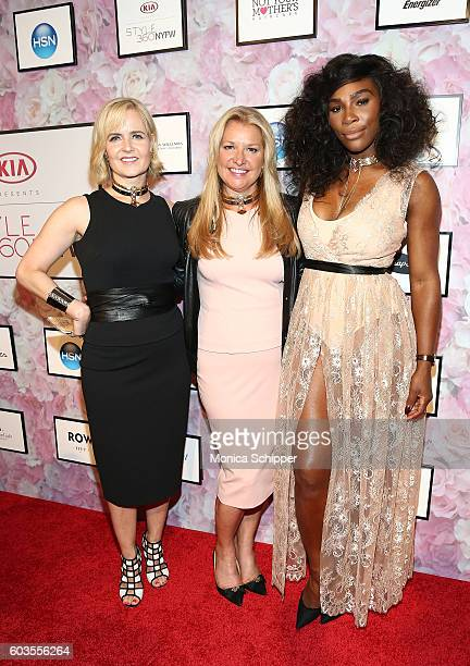 Kara Ross CEO of HSN Mindy Grossman and Serena Williams attend the Serena Williams Signature Statement Collection By HSN during Style360 Fashion Week...