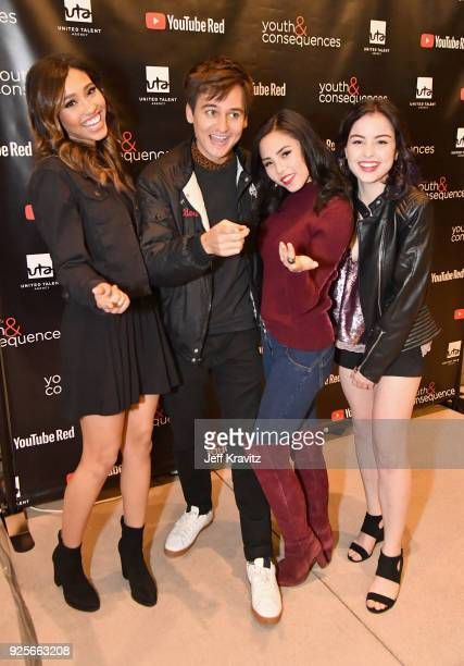 Kara Royster Moses Storm Anna Akana and Katie Sarife attend the YouTube Red Originals Series 'Youth Consequences' screening on February 28 2018 in...