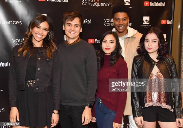 Kara Royster Moses Storm Anna Akana Mike Gray and Katie Sarife attend the YouTube Red Originals Series 'Youth Consequences' screening on February 28...