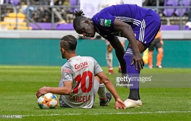 Kara Serigne Modou Mbodj defender of Anderlecht and Medhi Carcela midfielder of Standard Liege pictured during jupiler pro league match between RSC...