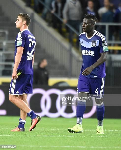 Kara Serigne Modou Mbodji defender of RSC Anderlecht and Leander Dendoncker midfielder of RSC Anderlecht looks dejected pictured during Jupiler Pro...