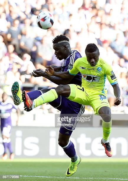 Kara Serigne Modou Mbodji defender of RSC Anderlecht and Simon Moses forward of KAA Gent pictured during Jupiler Pro League match between RSC...