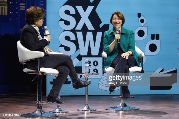 Kara Swisher and Amy Klobuchar speak onstage at Conversations About America's Future Senator Amy Klobuchar during the 2019 SXSW Conference and...