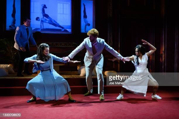 """Kara Tointon as Catherine, Tom Durant-Pritchard as Prince Harry and Crystal Condie as Meghan during dress rehearsals of the play """"The Windsors:..."""