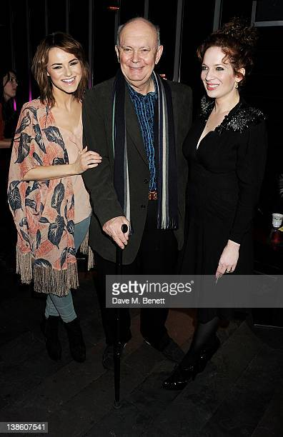 Kara Tointon playwright Alan Ayckbourn and Katherine Parkinson attend an after party celebrating the press night performance of 'Absent Friends' at...