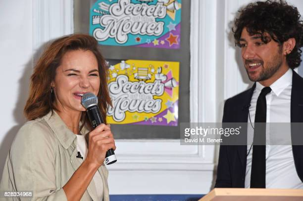 Kara Tointon speaks as Alex Zane looks on at the launch of 'Secrets Of The Movies' a free interactive family event presented by UK Film Distributors...