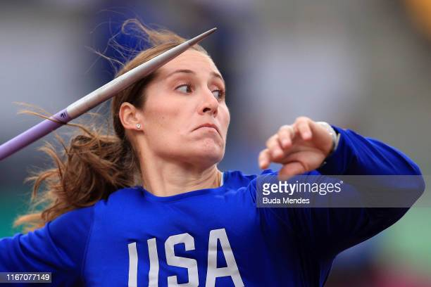 Kara Winger of United States competes in Women's Javelin Throw Final on Day 14 of Lima 2019 Pan American Games at Athletics Stadium of Villa...