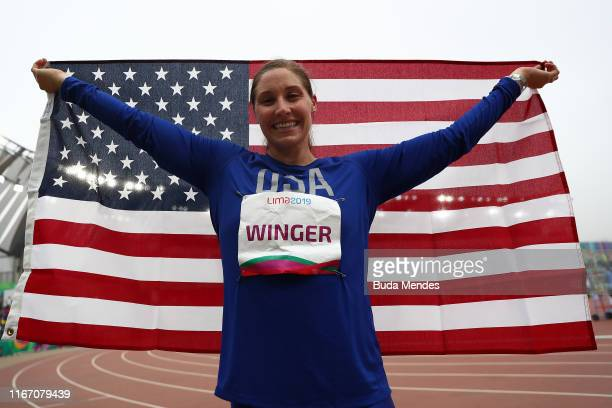 Kara Winger of United States reacts in Women's Javelin Throw Final on Day 14 of Lima 2019 Pan American Games at Athletics Stadium of Villa Deportiva...