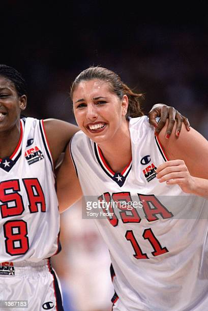 Kara Wolters of the United States celebrates during the Gold Medal Game against Australia during the Women's Basketball competition part of the 2000...