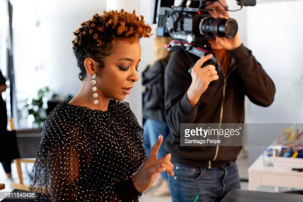 Kara Young backstage before hosting 2021 PEN America Literary Awards on April 07, 2021 in New York City. This year's virtual ceremony streams on...