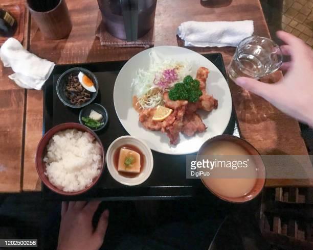 karaage lunch meal, personal perspective view from above - nimono bildbanksfoton och bilder