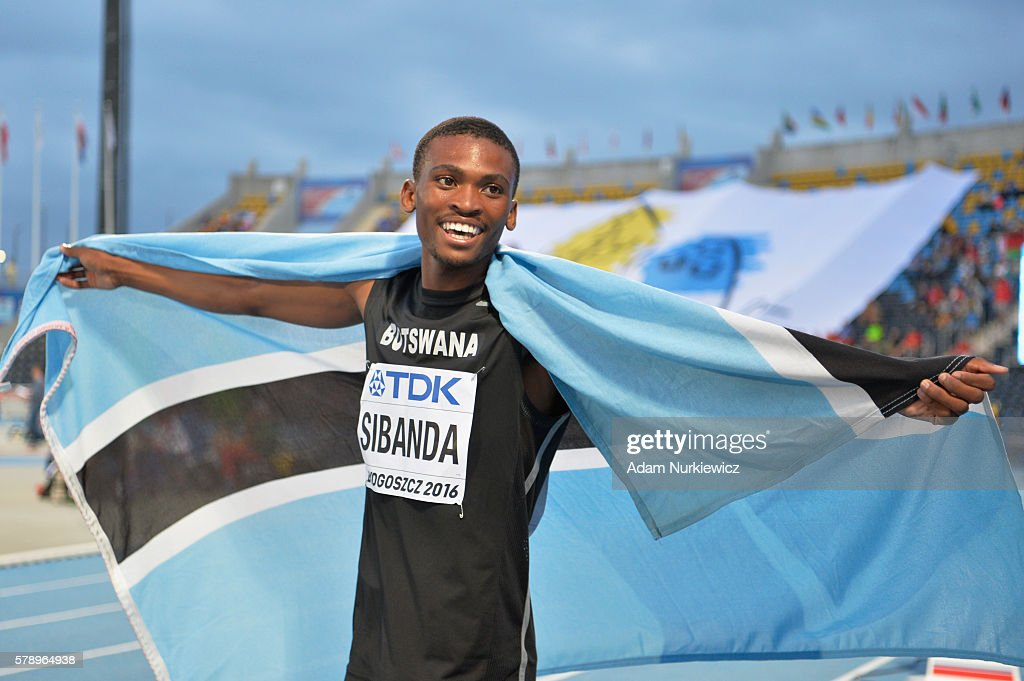 Karabo Sibanda from Botswana celebrates after men's 400 metres during the IAAF World U20 Championships at the Zawisza Stadium on July 22, 2016 in Bydgoszcz, Poland.