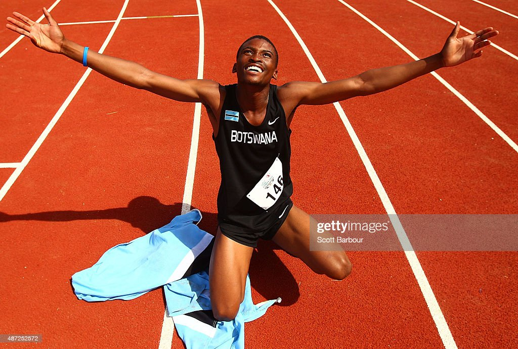 Karabo Sibanda of Botswana celebrates as he wins the Boys 400 Metre Final during the Athletics at the Apia Park Sports Complex on day two of the Samoa 2015 Commonwealth Youth Games on September 8, 2015 in Apia, Samoa.