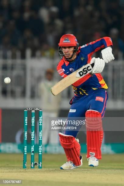 Karachi Kings' Alex Hales plays a shot during the Pakistan Super League T20 cricket match between Peshawar Zalmi and Karachi Kings at the Rawalpindi...
